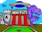Golf-spel-met-n-dinosourus