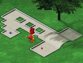 Mini-golf-spel-met-n-robot-dinosourus
